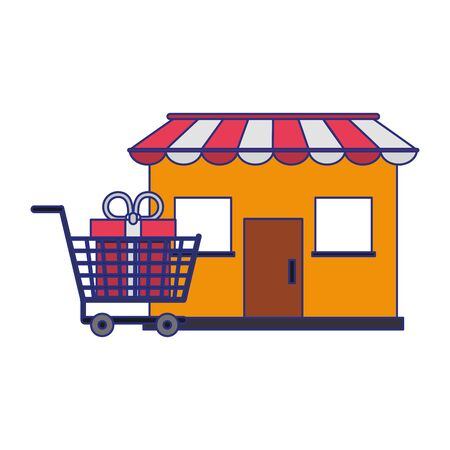 Shopping store and cart with giftbox symbols vector illustration graphic design
