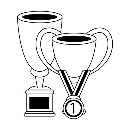 Soccer trophy cups tournament with first place medal vector illustration graphic design Standard-Bild - 129260644