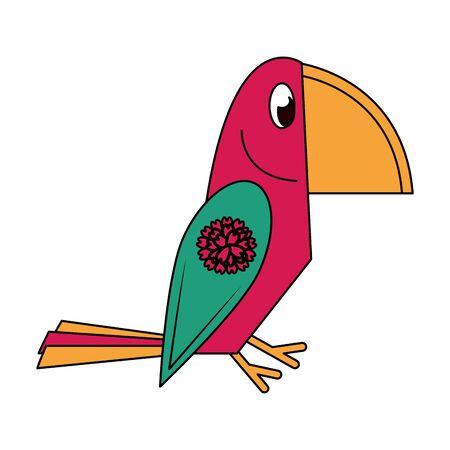 Ethnic bird with flower symbol isolated vector illustration graphic design Ilustracja