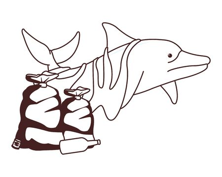 sad dolphin stuck with a garbage bag and bottle icon cartoon in black and white vector illustration graphic design