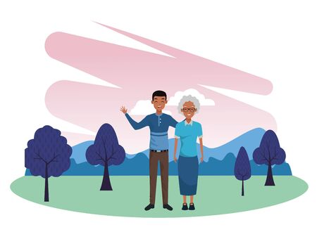 Family afroamerican grandmother with adult son smiling cartoon in nature outdoors park scenery vector illustration graphic design.
