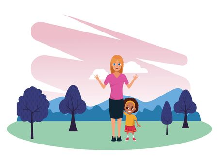 Family single mother with daughter cartoon in nature outdoors park scenery vector illustration graphic design. Çizim