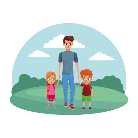 Family single father with kids holding school backpack in the nature park scenery ,vector illustration.