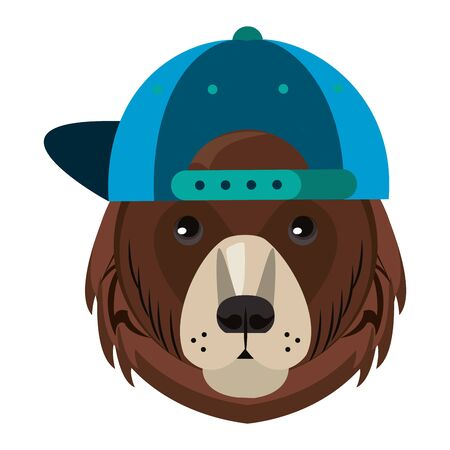 Cool bear with fashion accesories hat cartoon vector illustration graphic design