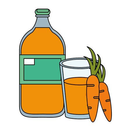 healthy drink juice carrot nature bottle with glass cartoon vector illustration graphic design Ilustracja