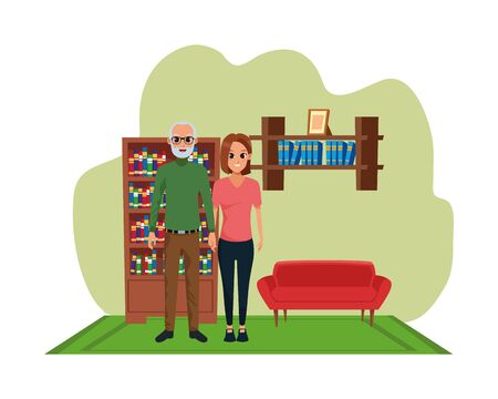 Family father with adult daughter smiling cartoon inside home living room with sofa and library scenery ,vector illustration graphic design. Çizim