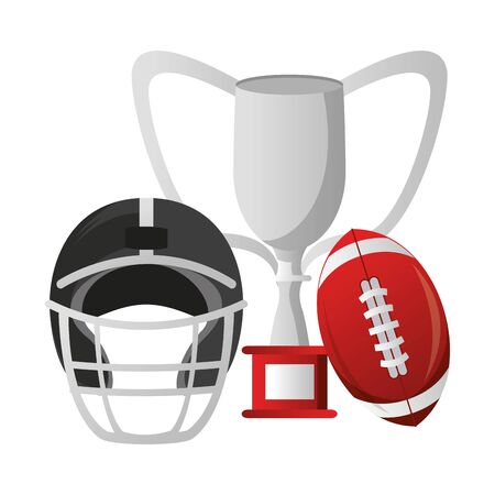 american football sport game champion trophy with ball and helmet cartoon vector illustration graphic design  イラスト・ベクター素材