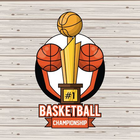 Sports balls equipment basketballs and trophy vibrant bold letters colorful badge fitness physical activity card background ribbon banner vector illustration graphic design