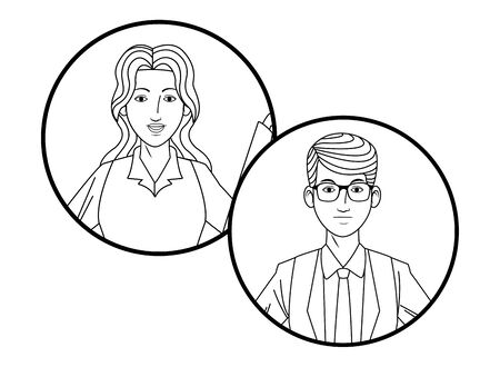 two business person man wearing glasses avatar cartoon character profile picture portrait in round icons black and white vector illustration graphic design Stock Illustratie