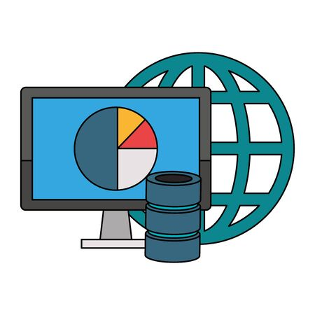 Office and business technology symbols computer and global sphere with servers disks vector illustration graphic design Stock Illustratie