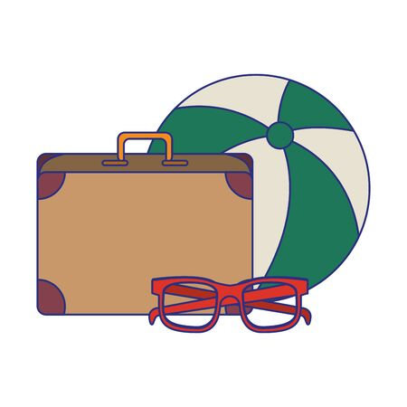 Summer and travel beach ball sunglasses and suitcase cartoons vector illustration graphic design
