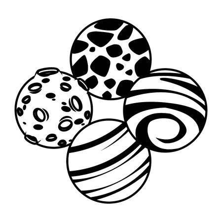 space exploration four black and white planets icon cartoon vector illustration graphic design