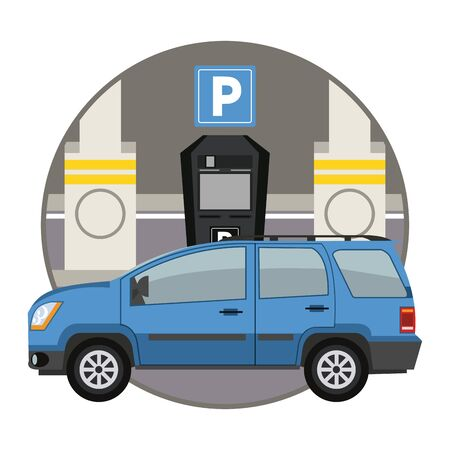 Car parked in lot with parking meter at city round icon Иллюстрация