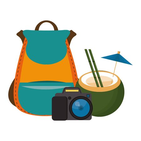 Summer coconut cocktail camera and backpack cartoons vector illustration graphic design
