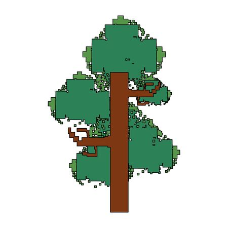 videogame pixelated retro art digital entertainment, tree isolated cartoon vector illustration graphic design Ilustracja