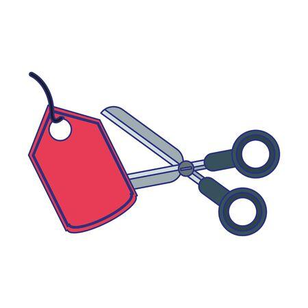 Scissor cutting shopping label isolated vector illustration graphic design Stockfoto - 129260875
