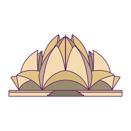 indian building monuments with lotus temple icon cartoon vector illustration graphic design