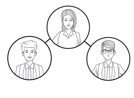 group of three business people man with glasses avatar cartoon character profile picture in round icon black and white vector illustration graphic design Stok Fotoğraf - 129260880