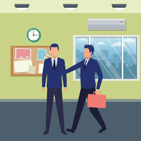 business business people businessman carrying a briefcase avatar cartoon character indoor with lamp, clock, air conditioning and work board vector illustration graphic design Stockfoto - 129260922