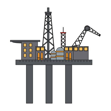 Petroleum oil refinery plant with machinery on plataform vector illustration graphic design