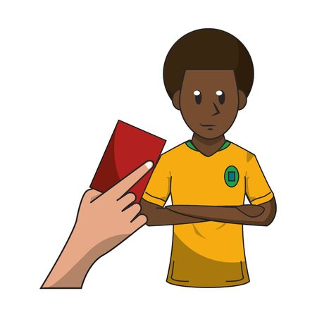 Soccer player with red card, referee hand holding card. vector illustration graphic design