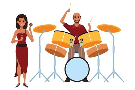 musician playing maracas and drums avatar cartoon character vector illustration graphic design  イラスト・ベクター素材