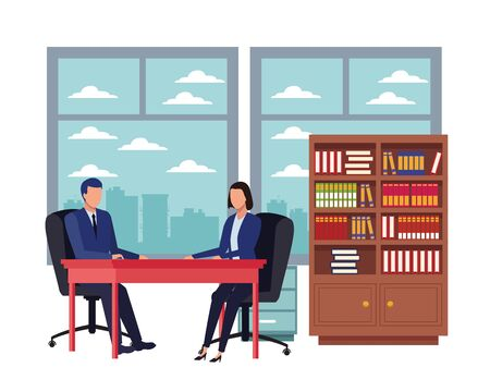 business business people businessman and businesswoman sitting on a desk with speech bubbles avatar cartoon character