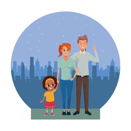 Family young father and mother with little afro daugther in the city urban scenery background ,vector illustration graphic design.