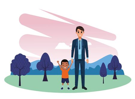 Family single father and little son smiling cartoon in nature outdoors park scenery vector illustration graphic design. Standard-Bild - 129260941