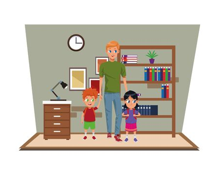 Family single father with kids holding school backpack in study room scenery ,vector illustration.