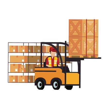 Warehouse worker driving fokrlift with boxes vector illustration