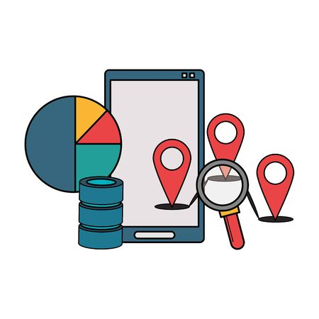 Office and business technology symbols smartphone with magnifying glass and location pins with statistics vector illustration graphic design