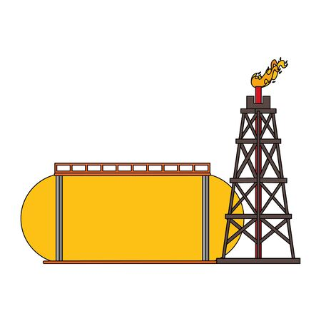 oil refinery gas factory industry petrochemical petroleum oil rig plant with storage tank cartoon vector illustration graphic design