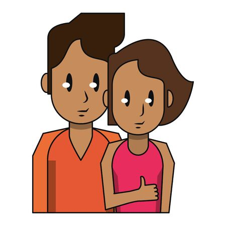 Young couple with thumb up cartoon profile isolated vector illustration graphic design Çizim