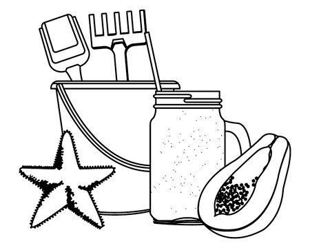 summer beach and vacation with sand bucket with slove and rake toys, starfish, tropical fruit and smoothie drink icon cartoon in black and white vector illustration graphic design