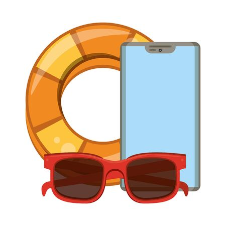 Summer lifesaver float sunglasses and smartphone cartoons vector illustration graphic design
