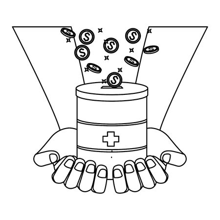 hands palm facing up holding a donative jar and coins falling into it black and white vector illustration graphic design Illusztráció