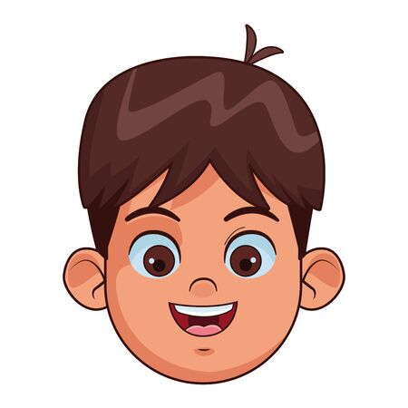 brunette boy with brown eyes smiling face avatar profile picture cartoon character portrait vector illustration graphic design