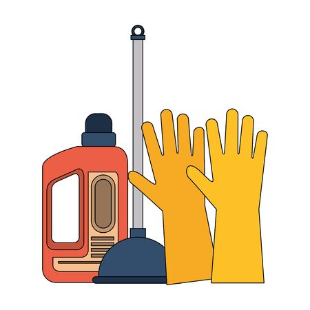 Cleaning equipment and products gloves with toilet pump and soap bottle vector illustration graphic design. Stock Illustratie