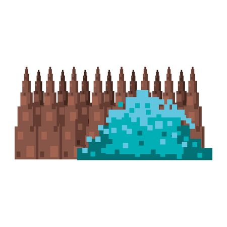 videogame pixelated retro art digital entertainment, bush with wooden fence cartoon vector illustration graphic design Ilustracja
