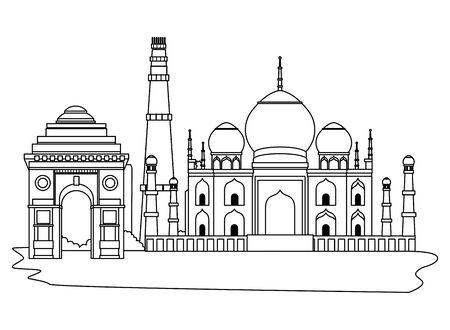 oriental antique taj mahal aged desert buildings isolated cartoon vector illustration graphic design