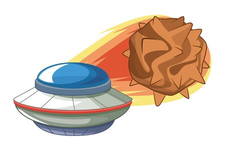 space exploration flying saucer and comet icon cartoon vector illustration graphic design