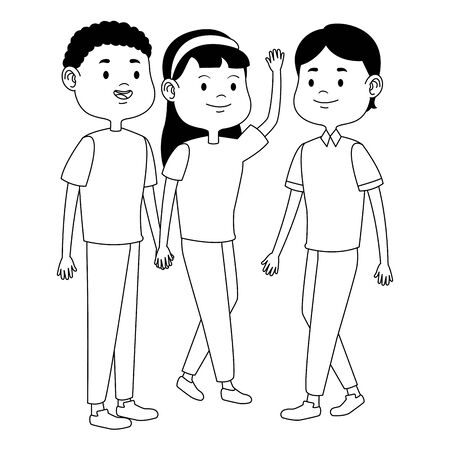 Teenagers friends with casual clothes smiling and greeting cartoons ,vector illustration graphic design. Stok Fotoğraf - 129260138
