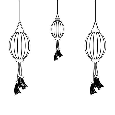 oriental chinese lanterns lamps yellow lights decoration cartoon vector illustration graphic design
