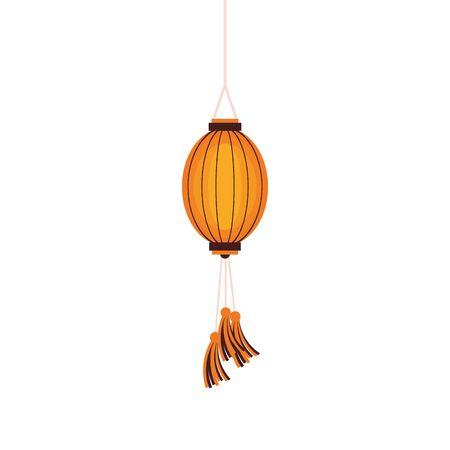 oriental chinese lantern lamp yellow light decoration cartoon vector illustration graphic design Иллюстрация