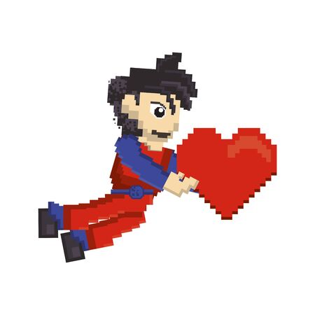 videogame pixelated retro art digital entertainment, arcade character holding heart cartoon vector illustration graphic design