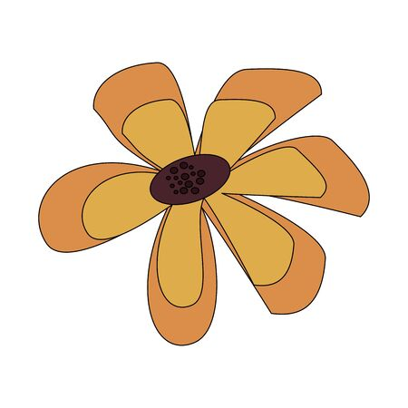 floral spring beautiful yellow flower isolated cartoon vector illustration graphic design