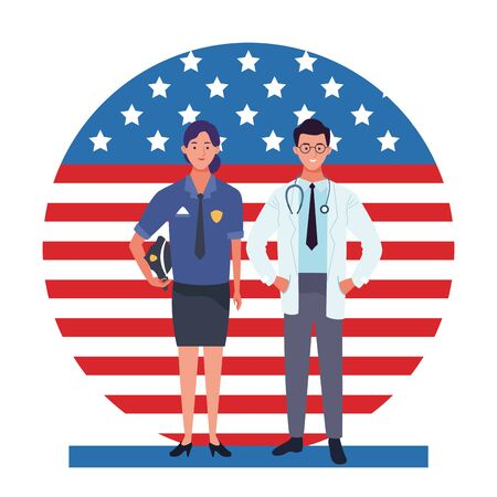 labor day employment occupation national celebration, police woman with doctor workers in front american united states flag cartoon vector illustration graphic design