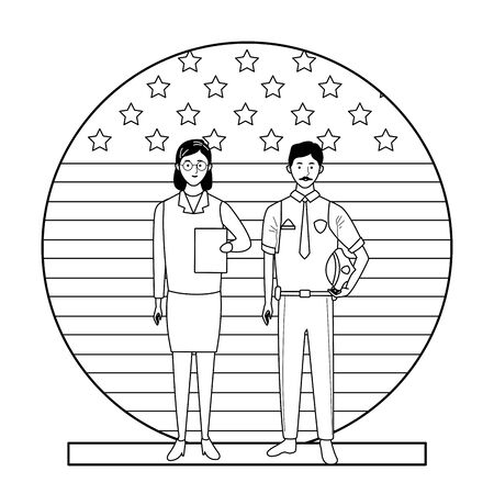 labor day employment occupation national celebration, doctor woman with police man workers in front american united states flag cartoon vector illustration graphic design Illustration