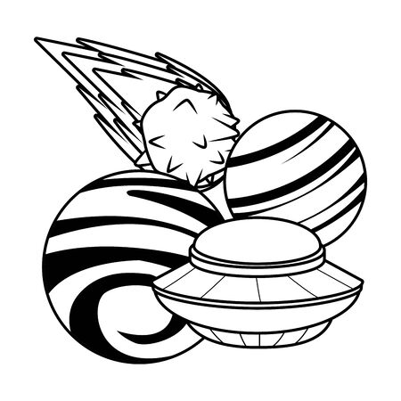 space exploration flying saucer, comet in black and white icon cartoon vector illustration graphic design 일러스트
